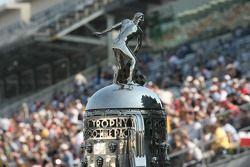 The Borg Warner Trophy sits on pit lane
