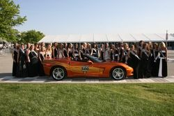 All of the 500 Festival Princess candidates posing with the Official Pace car of the 91st Indianapol