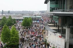 Crowds file into the Indianapolis Motor Speedway