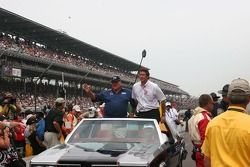 AJ Foyt Jr and Tony George in the 1977 Pace Car on the 30 anniversary of his 4th 500 win