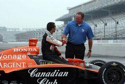 Brian Barnhart congratulates Dario Franchitti on his win in the 91st Indianapolis 500