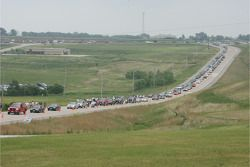 Traffic waiting to get to the track