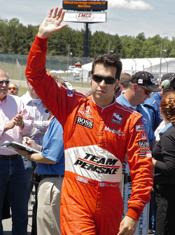 Sam Hornish Jr. waves to his home state fans