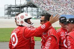 Chip Ganassi Racing crew members celebrate the victory of Scott Dixon