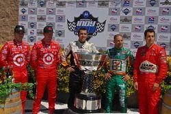 The five drivers in contention for the 2007 IndyCar championship: Dan Wheldon; Scott Dixon; Dario Franchitti; Tony Kanaan and Sam Hornish Jr.