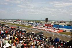 Départ: Helio Castroneves et Marco Andretti devant le peloton