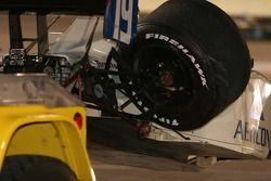 Les freins de Jon Herb encore rouge après l'accident
