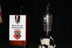 The Borg-Warner Trophy on display during the Shav Glick Newsmakers Forum at the AARWBA Auto Racing A