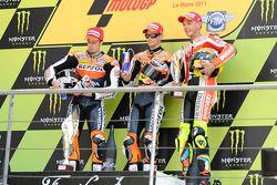 Podium: race winner Casey Stoner, second place Andrea Dovizioso, third place Valentino Rossi
