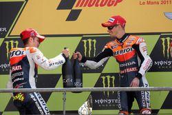 Podium: race winner Casey Stoner, second place Andrea Dovizioso