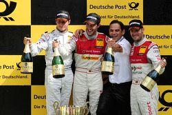 Podium: Bruno Spengler, Team HWA AMG Mercedes, AMG Mercedes C-Klasse, Mike Rockenfeller, Audi Sport