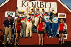 DP podium: class and overall winners Joao Barbosa, Terry Borcheller and JC France, second place Scott Pruett and Memo Rojas, third place David Donohue and Darren Law