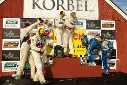 DP podium: class and overall winners Joao Barbosa, Terry Borcheller and JC France, second place Scot