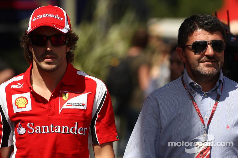 Fernando Alonso, Scuderia Ferrari con su mánager, Luis Garcia Abad