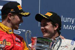 Podium: race winner Fabio Leimer, Team Rapax and second place Dani Clos, Racing Engineering