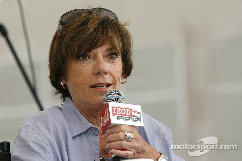Lyn St. James speaks to fellow drivers during a question and answer period at the Indianapolis Motor