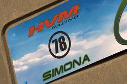 Garage sign for Simona de Silvestro, Nuclear Clean Air Energy HVM Racing