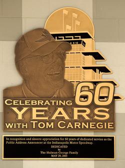 A plaque commemorating Tom Carnegie