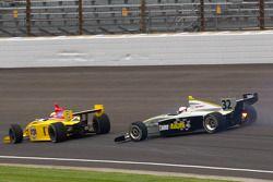 Gustavo Yacaman, Team Moore Racing and Brandon Wagner, Davey Hamilton Racing crash