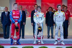 Podium: race winner Charles Pic, second place Josef Kral, third place Romain Grosjean