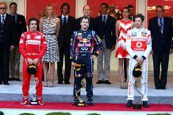 Podium: Sieger Sebastian Vettel, 2. Fernando Alonso, 3. Jenson Button