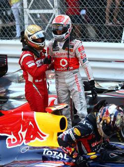 Fernando Alonso, Scuderia Ferrari with Jenson Button, McLaren Mercedes and Sebastian Vettel, Red Bull Racing