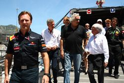 Christian Horner, Red Bull Racing con Flavio Briatore y Bernie Ecclestone