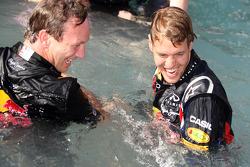 Sebastian Vettel, Red Bull Racing and Christian Horner, Red Bull Racing, Sporting Director in the pool