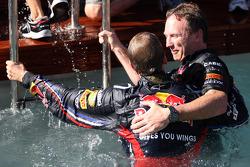 Sebastian Vettel, Red Bull Racing and Christian Horner, Red Bull Racing, Sporting Director in the po