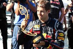 Sebastian Vettel, Red Bull Racing, celebrates with the team
