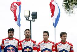 Podium: winnaars Sebastien Loeb en Daniel Elena, 3de Sébastien Ogier en Julien Ingrassia