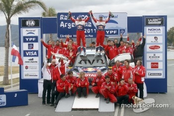 Podium: winners Sebastien Loeb and Daniel Elena