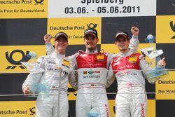 Ralf Schumacher, Team HWA AMG Mercedes C-Klasse,Martin Tomczyk, Audi Sport Team Phoenix Audi A4 DTM, Oliver Jarvis, Audi Sport Team Abt Audi A4 DTM