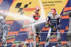 Casey Stoner, Repsol Honda Team, et Ben Spies, Yamaha Factory Racing