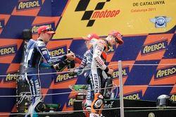 Podio: Jorge Lorenzo, Yamaha Factory Racing, ganador de la carrera Casey Stoner, Repsol Honda Team y