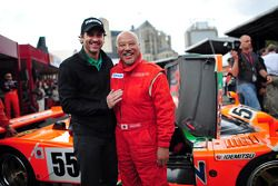 Patrick Dempsey and Yojiro Terada before the Mazda 787B demonstration lap for the 20th anniversary o