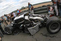 The #3 Audi Sport North America Audi R18 TDI after the crash of Allan McNish