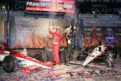 Dario Franchitti, Target Chip Ganassi Racing and Will Power, Team Penske celebrate