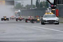 Sebastian Vettel, Red Bull Racing behind the safety car