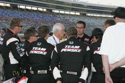 Team Penske meets with Roger Penske before the race