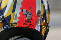 Indy Car approval stickers on racing helmet