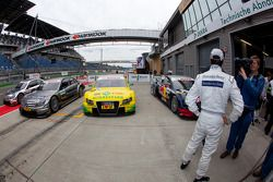 Pole winner Bruno Spengler, Team HWA AMG Mercedes gives interviews