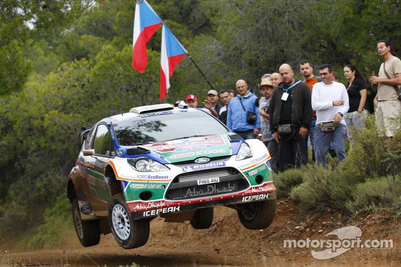 Mikko Hirvonen y Jarmo Lehtinen, Ford Fiesta RS WRC, BP Ford Abu Dhabi World Rally Team