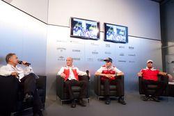 Dr. Wolfgang Ullrich, Head of Audi Sport, Mattias Ekström, Audi Sport Team Abt and Martin Tomczyk, Audi Sport Team Phoenix meet the press