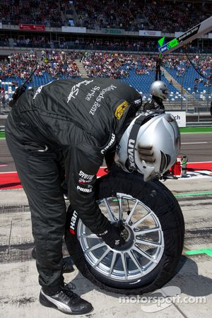 Team HWA AMG Mercedes team member ready for a pit stop