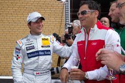 3de Bruno Spengler, Team HWA AMG Mercedes viert met Hans-Jürgen Abt