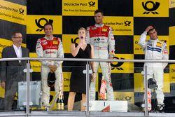 Podium: race winner Martin Tomczyk, Audi Sport Team Phoenix, second place Timo Scheider, Audi Sport