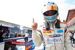 Charles Pic, Barwa Addax Team celebrates his pole position