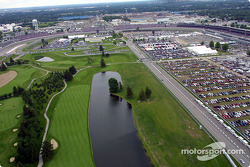 Aerial view of Indianapolis Motor Speeway: the golf, turns 1 and 2