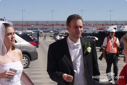 The head track photographer was married the morning of the race; he worked the race